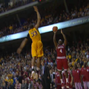 Rodney Williams Jumps Out Of The Building To Block Victor Oladipo'sShot