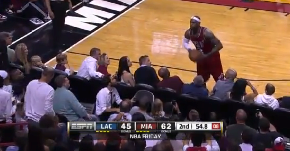 LeBron Plays Pass With Fan At Heat Game