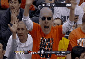 Syracuse Orange Fan Rocks A Jim Boeheim Cut Out Mask