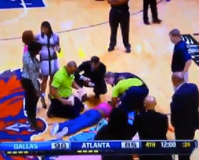 Atlanta Hawks Cheerleader Breaks Her Face On The Court