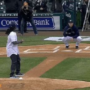 Denard Robinson Throws Out The First Pitch At The Tigers' Game… Or At Least Tries To