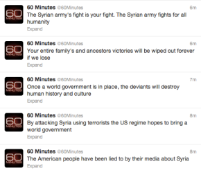 Syrian Electronic Army Has Officially Invaded 60 Minutes' Twitter Account