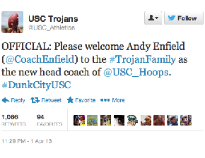 USC Hires Florida Gulf Coast Coach Andy Enfield, Then Proceeds To Steal Their #DunkCity Slogan